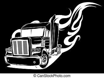 Cartoon semi truck in black background vector illustration