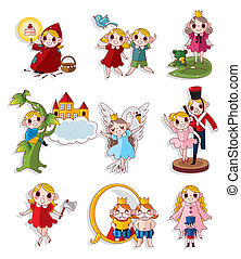 cartoon story people icons set