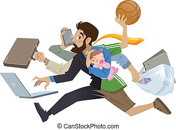 Cartoon super busy man and father multitask doing many works running to the office shopping playing basketball working and talking on the phone while his baby girl sleeping