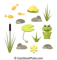 Cartoon vector garden pond elements with water, plants and animals.