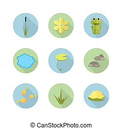 Cartoon vector garden pond icons with water, plants and animals.