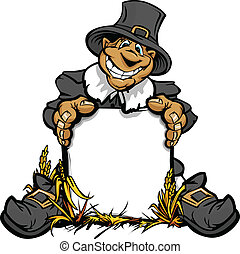 Cartoon Vector Image of a Happy Thanksgiving Holiday Pigrim Holding a Sign