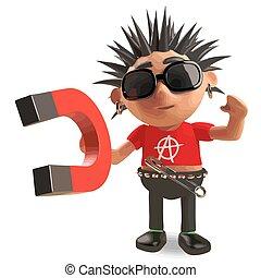 Cartoon vicious punk rocker demonstrates magnetism, 3d illustration