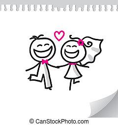 cartoon wedding couple on realistic paper sheet
