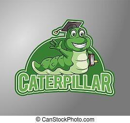 Caterpillar holding book