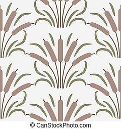 Cattail plant cartoon seamless vector pattern.