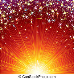Festive vector background with Firework sparks