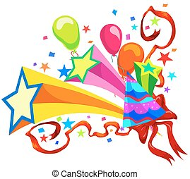 Celebration with balloons, stars, party hats, ribbons and confetti, vector illustration