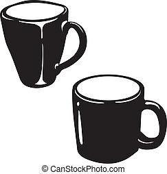 ceramic cup silhouette vector