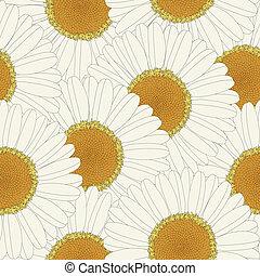 Chamomile retro seamless pattern