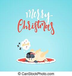 Character christmas cute funny dog in flat style