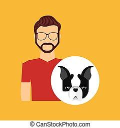 character man bearded pet french bulldog graphic