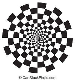 Black on white circle checkerboard spiral illusion design background pattern. EPS8 compatible.