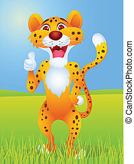 Cheetah cartoon with thumb up