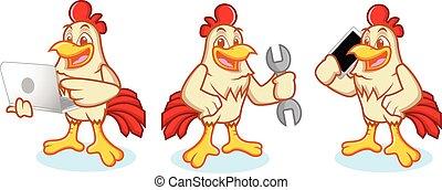 Chicken Mascot with phone