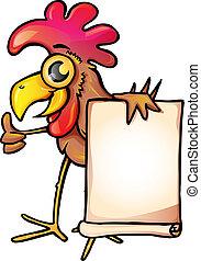 Chicken with banner