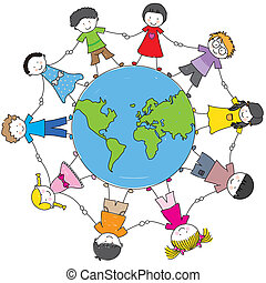 Children from different cultures holding hands around the ball world