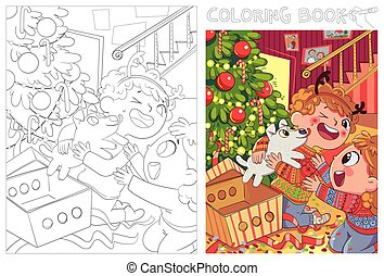 Children presented a puppy for Christmas. Coloring book