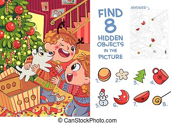 Children presented puppy for Christmas. Find 8 hidden objects in the picture