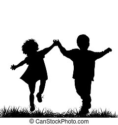 Silhouettes of a boy and a girl running