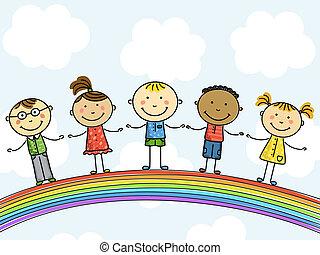 Funny kids on a rainbow. Vector illustration.