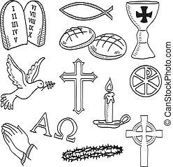 Christian hand-drawn symbols illustration