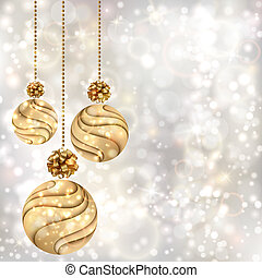 Christmas background with gold balls