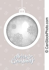 Christmas balls background in paper cut style.