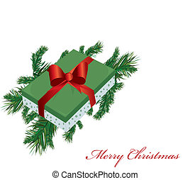 Christmas banner with pine branches and boxes with gifts