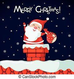 Christmas card with funny Santa Claus in chimney.
