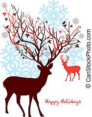 Christmas deer with tree, vector