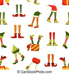 Christmas elf legs flat vector seamless pattern. Funny new year, winter holiday themed texture. Colorful clown, jester, santa helpers footwear illustrations. Xmas wrapping paper, wallpaper design.
