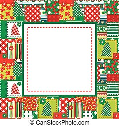 Christmas frame with sewed elements