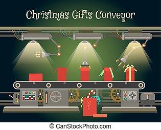 Christmas gift wrapping machine conveyor