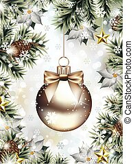 Christmas Ornament among Fir Branches with Falling Snowflakes