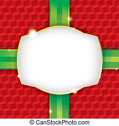 A wrapped Christmas present wrapping paper background with a blank label. Vector EPS 10. File contains transparencies and a gradient mesh. File is organized and layered (highlights, label, ribbon, pattern) for easy adjustments or omission of elements. Download includes a 5000 x 5000 px high ...