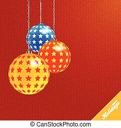 Christmas red textured background with decorated baubles