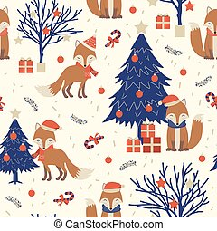 Christmas seamless pattern with fox background, Winter pattern with christmas tree, wrapping paper, pattern fills, winter greetings, web page background, Christmas and New Year greeting cards