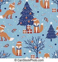 Christmas seamless pattern with fox background, Winter pattern with christmas tree, wrapping paper, winter greetings, web page background, Christmas and New Year greeting cards