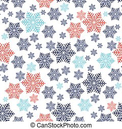 Christmas seamless pattern with red and blue snowflakes