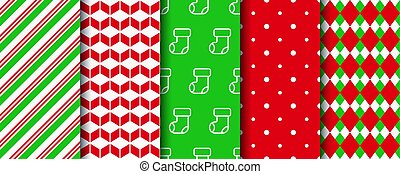 Christmas seamless patterns collection. Xmas wrapping paper swatches with xmas, candycane stripes, polka dot ornament.