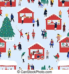 Christmas street fair flat vector seamless pattern. Winter holiday decorative texture. Traditional new year festivity hand drawn background. Xmas wrapping paper, wallpaper, textile design.