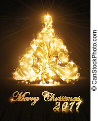 Christmas tree 2011 card with golden glow and sparkles