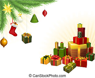 Christmas tree decorations and gifts