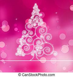 Christmas tree illustration on purple bokeh. EPS 8
