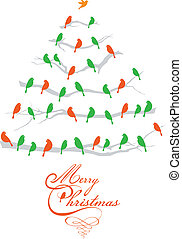 christmas tree with birds, vector