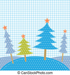 Christmas trees in patchwork style