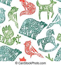 Christmas watercolor folk animal seamless pattern