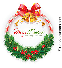 christmas wreath with bow and gold bells