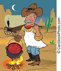 A cowboy cook sampling his dinner from the kettle